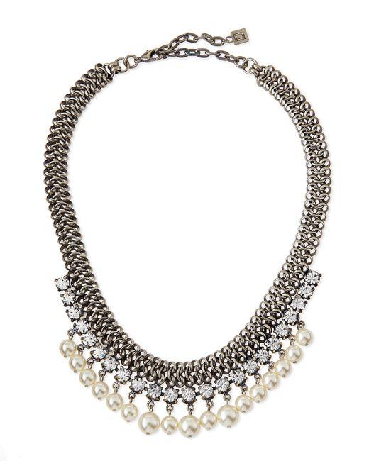 DANNIJO | Metallic Serafina Pearly Crystal Chain Necklace | Lyst