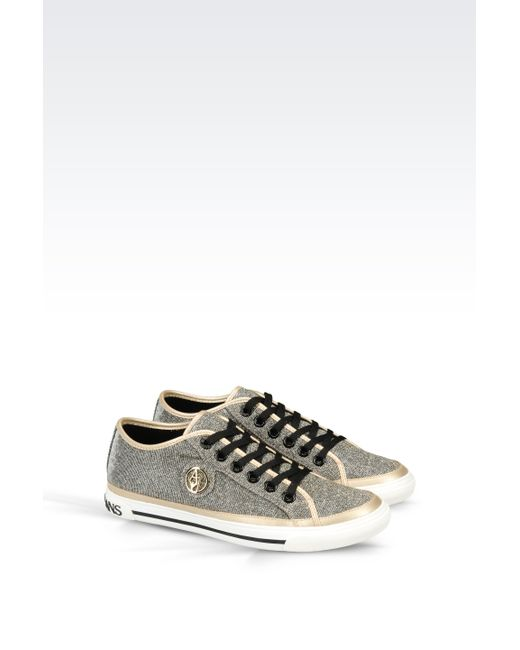 armani jeans fabric sneaker in gold lyst. Black Bedroom Furniture Sets. Home Design Ideas