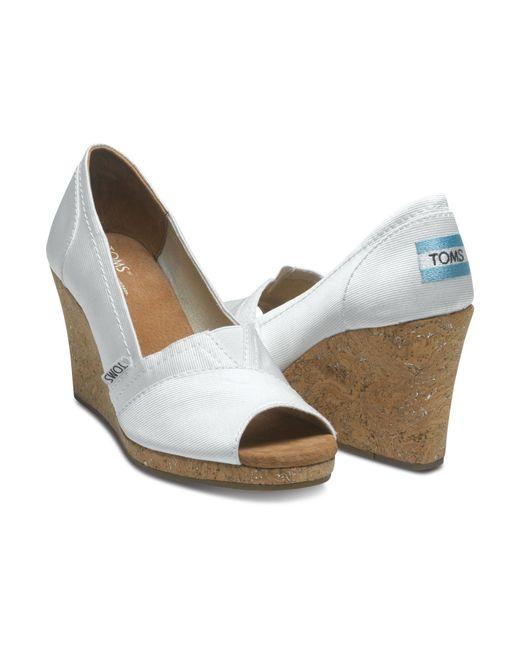 TOMS | White Grosgrain Women's Stella Peep-toe Wedges | Lyst