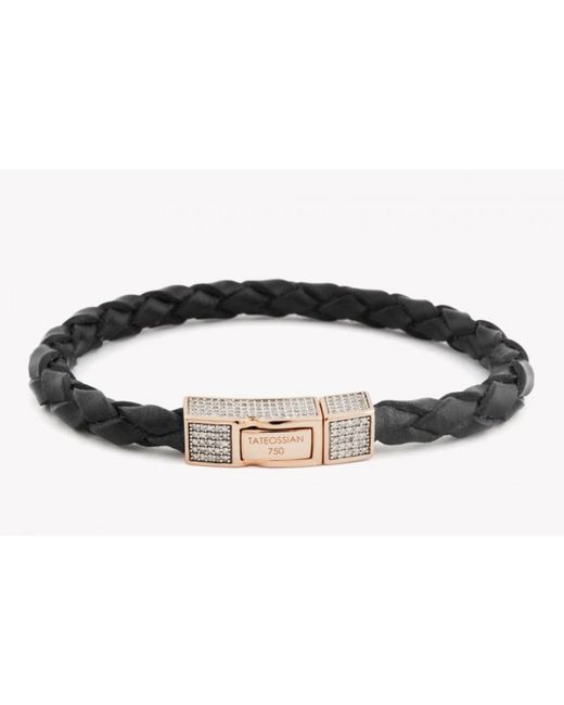 Tateossian | Single Wrap Black Leather Scoubidou Bracelet With White Diamond And 18k Rose Gold Clasp for Men | Lyst