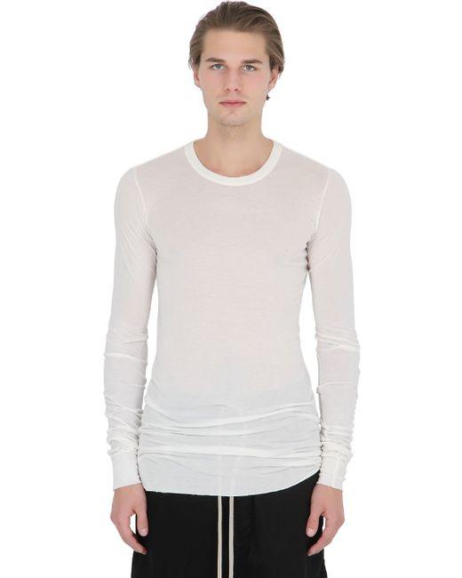 Rick owens silk blend jersey long sleeve t shirt in white for Silk white t shirt