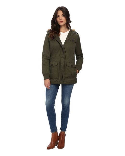 Levi's | Green Coated Cotton Four-pocket Hooded Parka W/ Sherpa Lining | Lyst