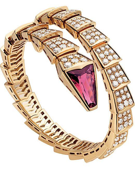 BVLGARI | Metallic Serpenti 18kt Pink-gold And Diamond Bracelet | Lyst