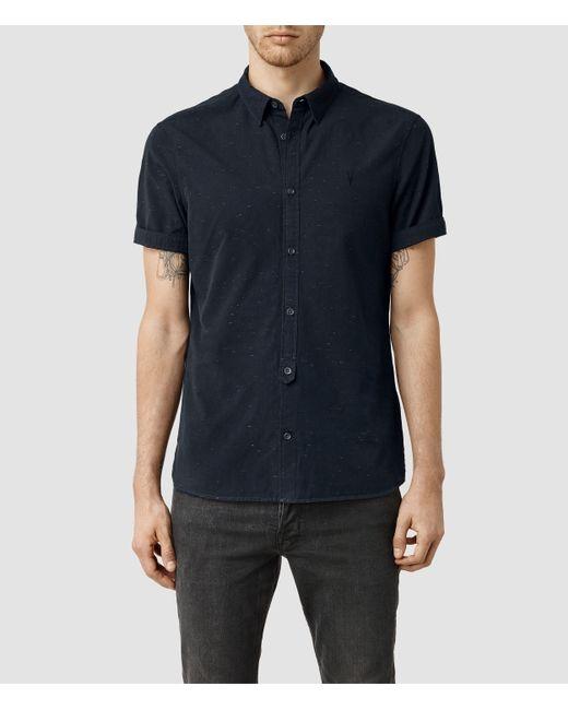 AllSaints | Blue Waycross Short Sleeved Shirt Usa Usa for Men | Lyst