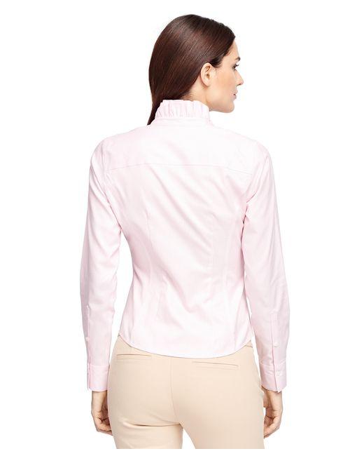 Brooks Brothers Non Iron Ruffled Collar Dress Shirt In