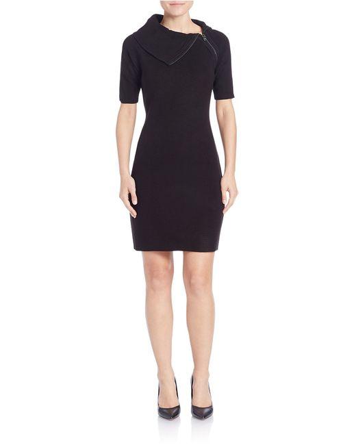 Calvin Klein | Black Zip-collar Knit Dress | Lyst