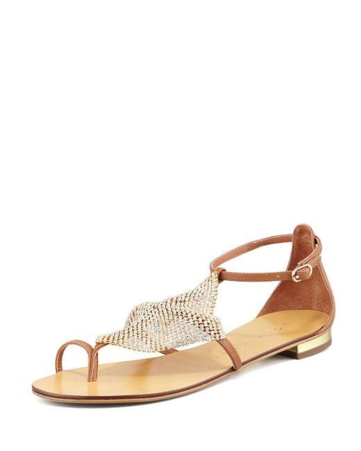 Lola Cruz | Brown Crystal-mesh Toe-ring Flat Sandal | Lyst