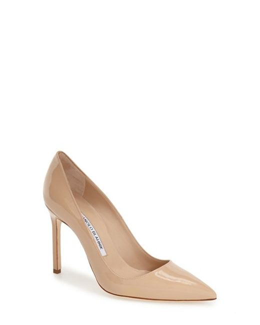 Manolo Blahnik | Natural 'Bb' Pointy Toe Pump | Lyst