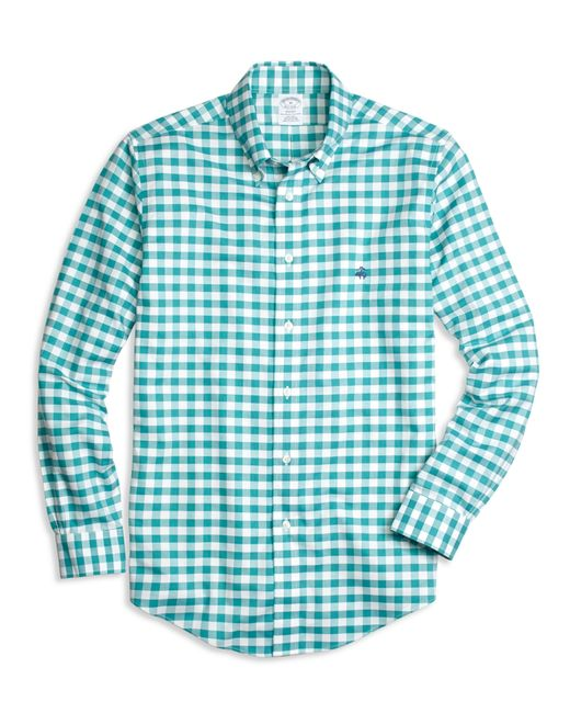Brooks Brothers   Blue Non-iron Regent Fit Gingham Sport Shirt for Men   Lyst