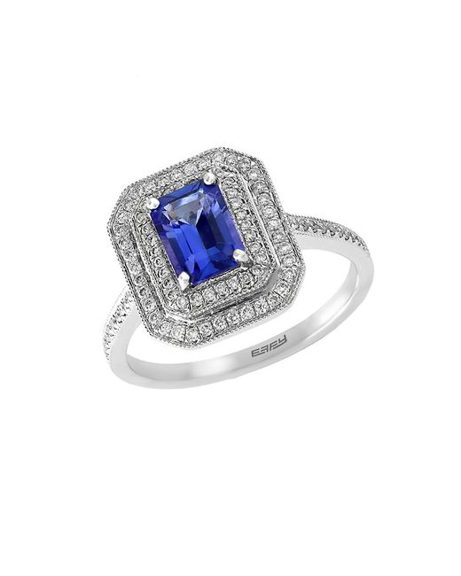 Effy | Blue Tanzanite Royale Diamond And 14k White Gold Ring | Lyst