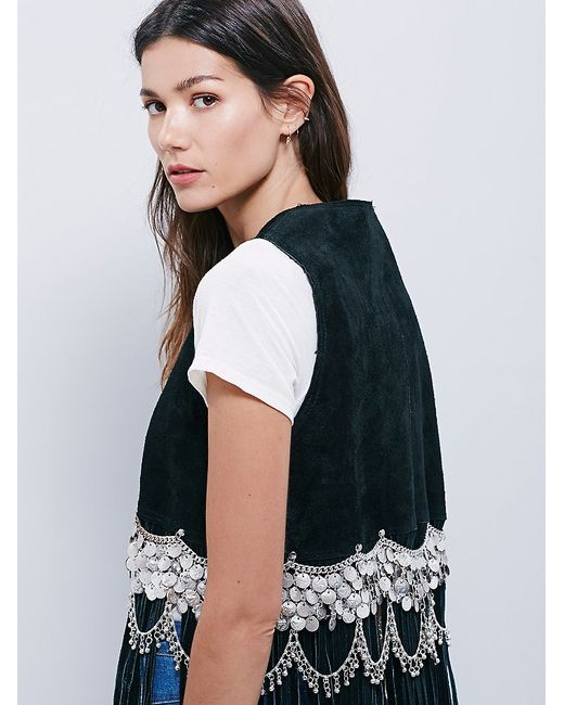 Free People | Black Cascading Coins Suede Vest | Lyst