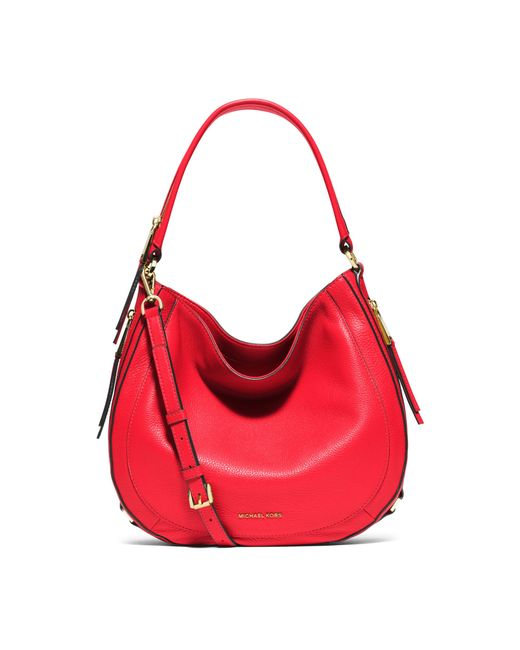 Michael kors Julia Medium Leather Shoulder Bag in Pink ...