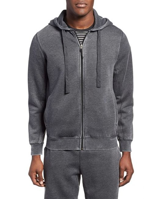 Daniel Buchler | Black Washed Cotton Blend Zip Hoodie for Men | Lyst