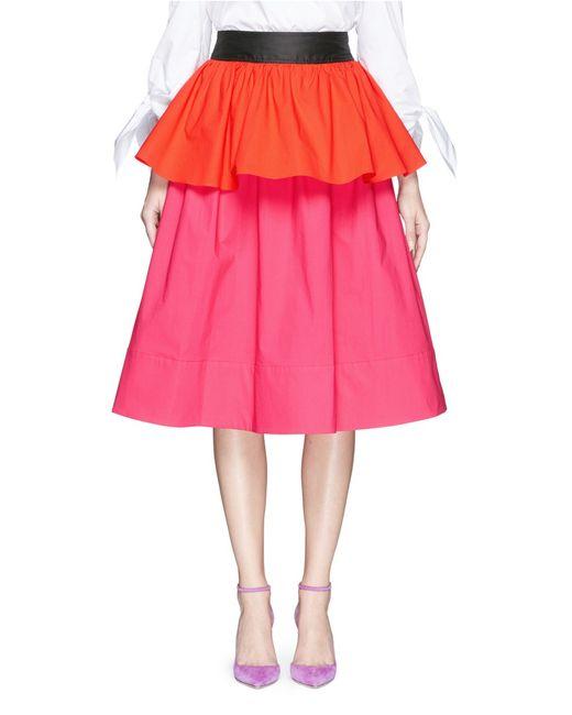 isa arfen colourblock peplum panel midi skirt in pink