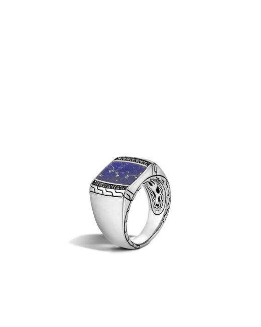 John Hardy   Metallic Classic Chain Signet Ring With Lapis for Men   Lyst