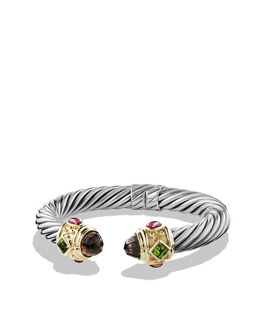 David Yurman | Metallic Renaissance Bracelet With Smoky Quartz, Peridot, And 14k Gold, 10mm | Lyst