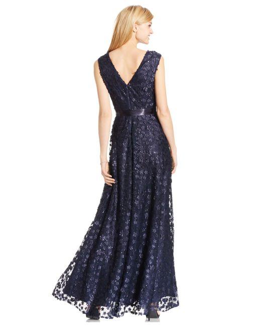 Tahari   Blue Floral Applique A-line Gown   Lyst