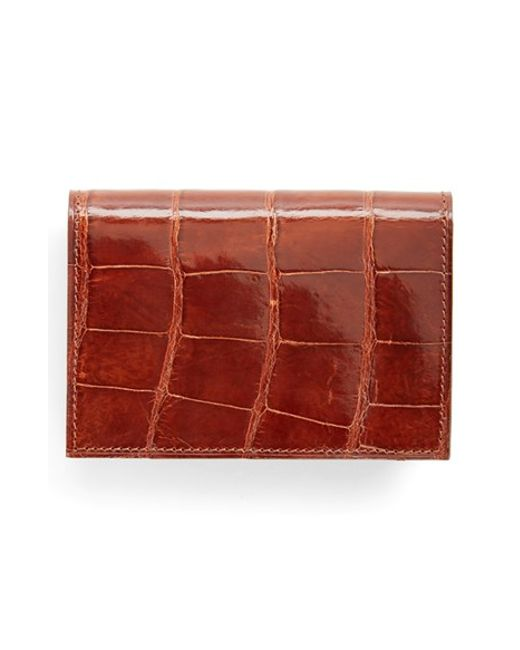 Boconi | Brown Alligator Card Case for Men | Lyst