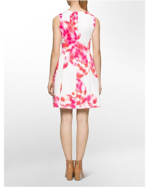 Calvin Klein Abstract Print Scuba Sleeveless Fit Flare
