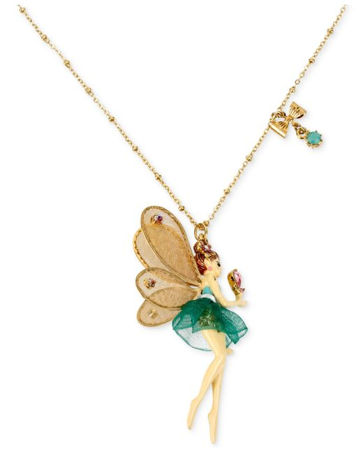 Betsey Johnson | Metallic Antique Gold-tone Fairy And Bow Pendant Necklace | Lyst