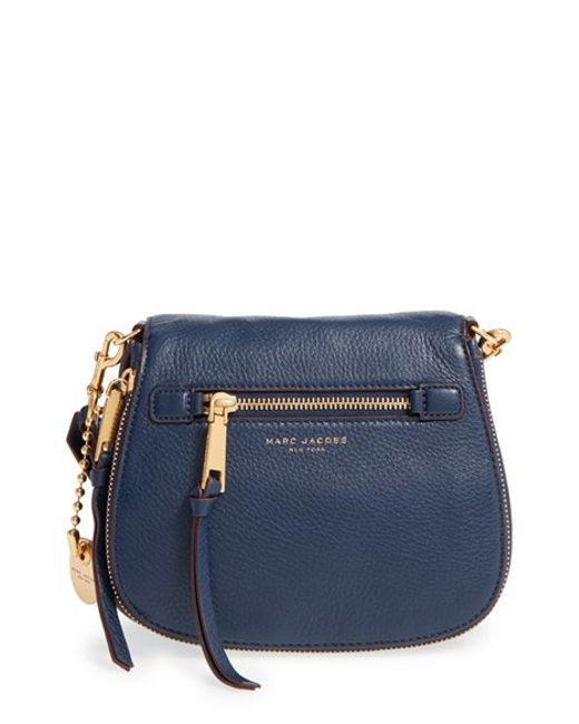Marc Jacobs | Blue Small Recruit Nomad Pebbled Leather Crossbody Bag | Lyst