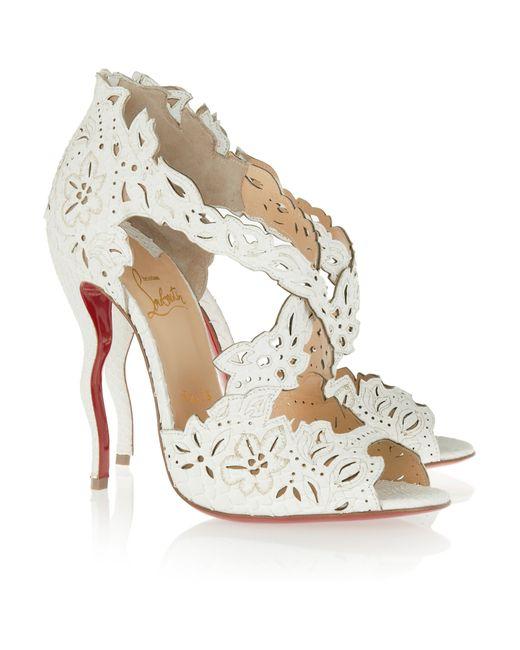 christian louboutin metallic laser cut sandals