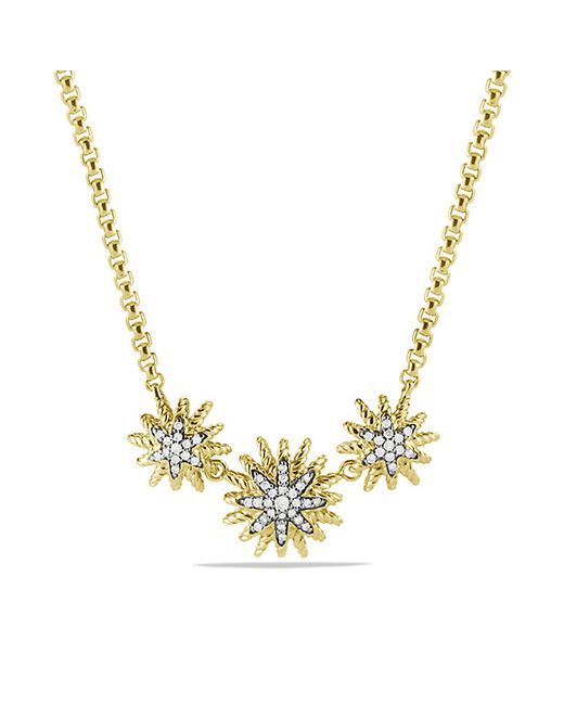 David Yurman | Metallic Starburst Necklace With Diamonds In Gold | Lyst