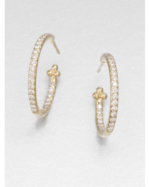 Temple St. Clair | Metallic Classic Diamond & 18k Yellow Gold Hoop Earrings/0.7 | Lyst