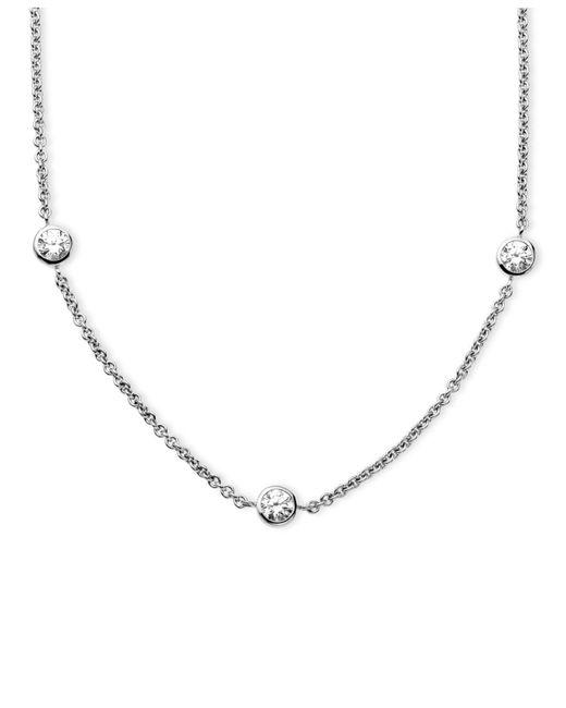 Arabella | Metallic White Round-cut Swarovski Zirconia 7-station Necklace (3-1/6 Ct. T.w.) | Lyst
