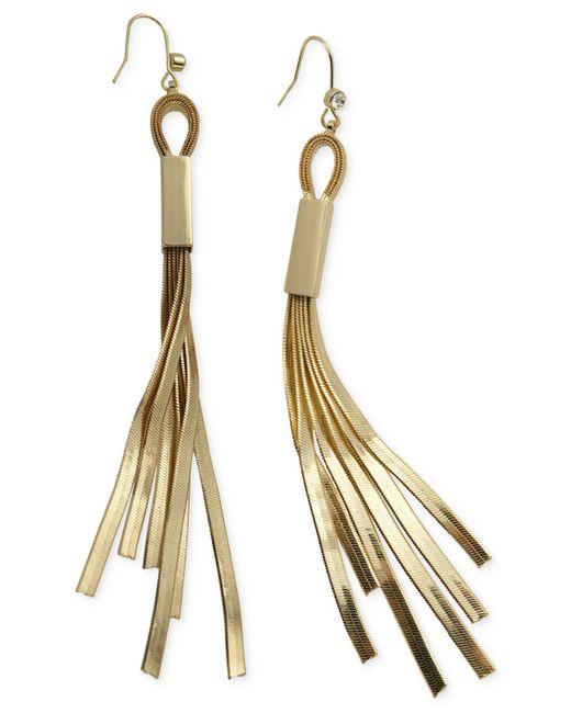 Guess | Metallic Herringbone Chain Fringe Earrings | Lyst