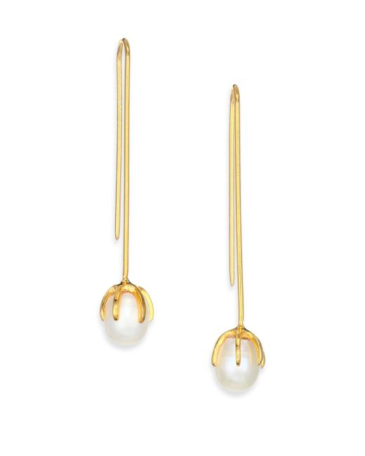 Lizzie Fortunato | Metallic Eclipse 8mm White Pearl Wire Drop Earrings | Lyst