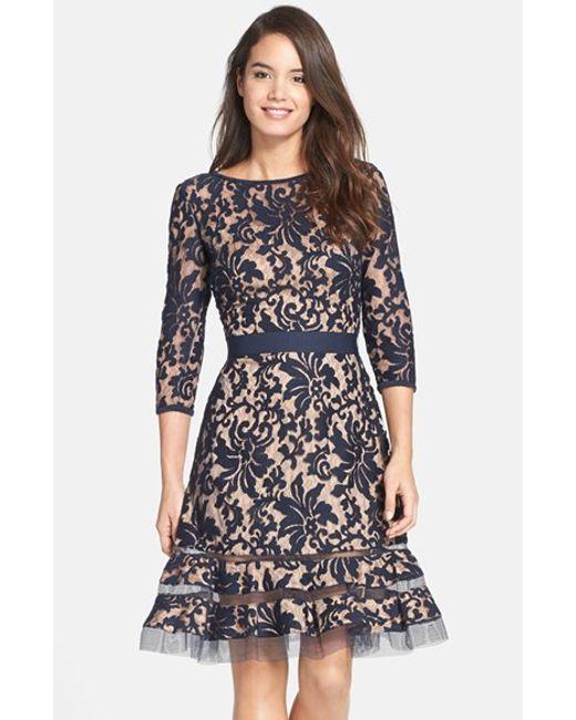 Tadashi Shoji | Blue Lace Overlay Dress | Lyst