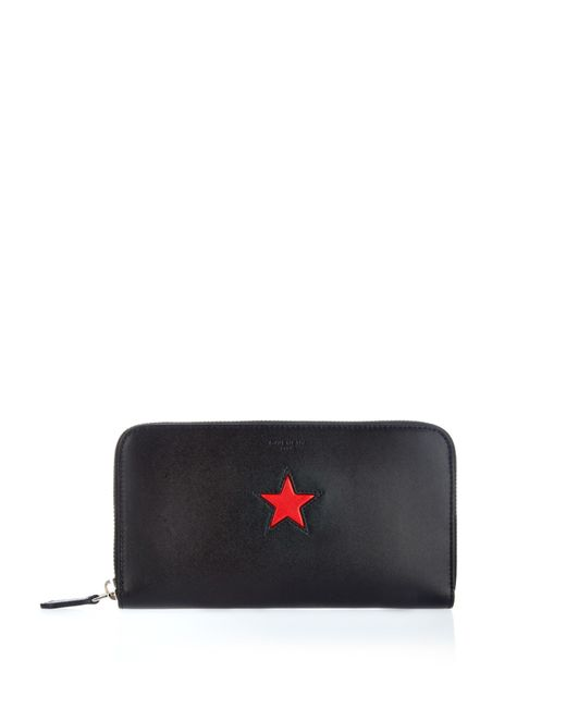 Givenchy Star Embossed Zip Around Leather Wallet In Red Black Red Lyst