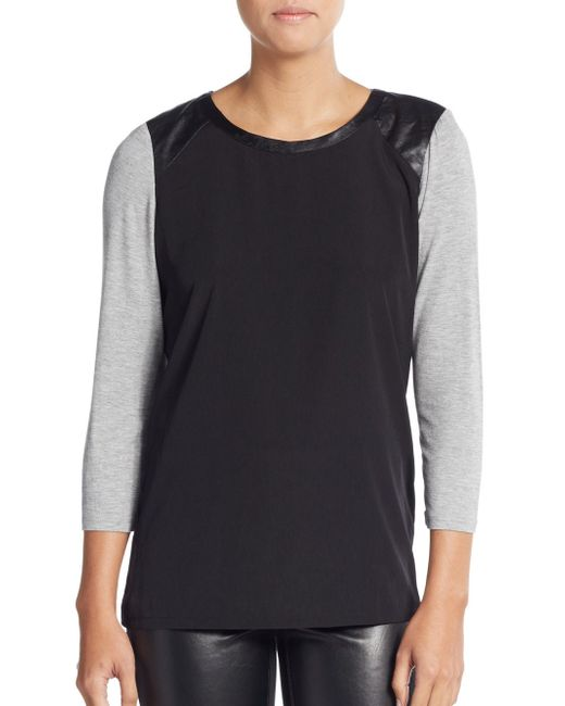 NYDJ | Black Colorblock Leather-inset Tee | Lyst
