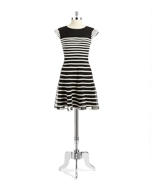 Betsy & Adam | White Striped Mesh Fit And Flare Dress | Lyst