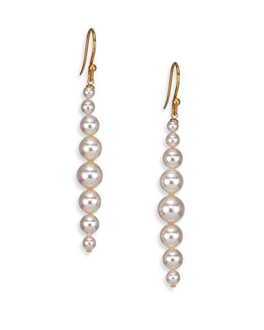 Majorica   Metallic 3mm-8mm White Pearl Linear Drop Earrings   Lyst