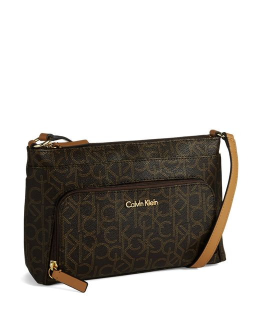 Calvin Klein Logo Crossbody Bag In Brown Brown Khaki