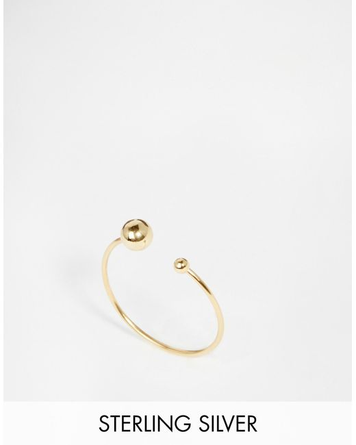 ASOS | Metallic Gold Plated Sterling Silver Fine Open Bead Ring - Gold | Lyst