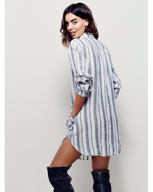 Free People X Cp Shades Womens Cozy Linen Dress In Blue