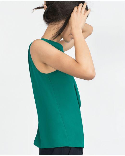 Zara | Green Flouncy Front Top | Lyst