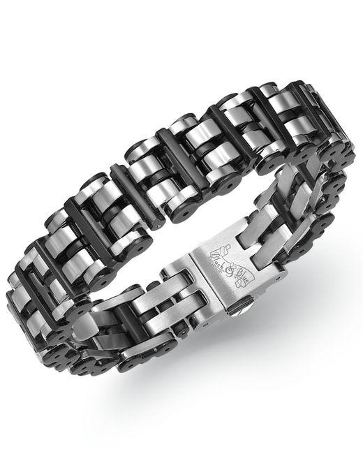 Macy's | Men's Black Hardware Link Bracelet In Stainless Steel for Men | Lyst