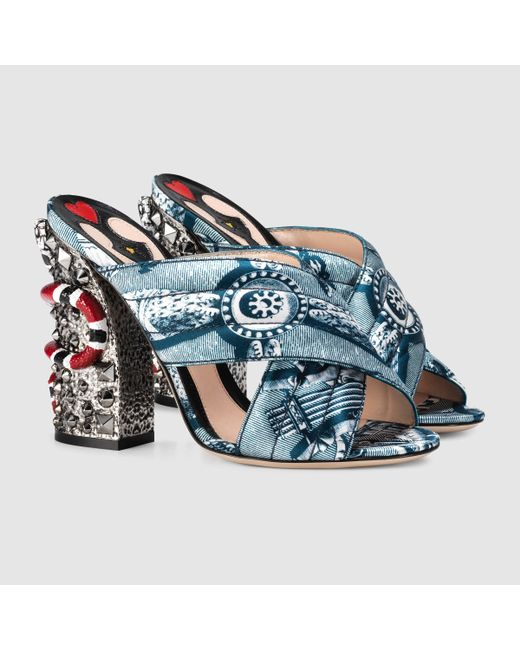 Gucci Romain Satin Crossover Sandal In Blue Blue Romain