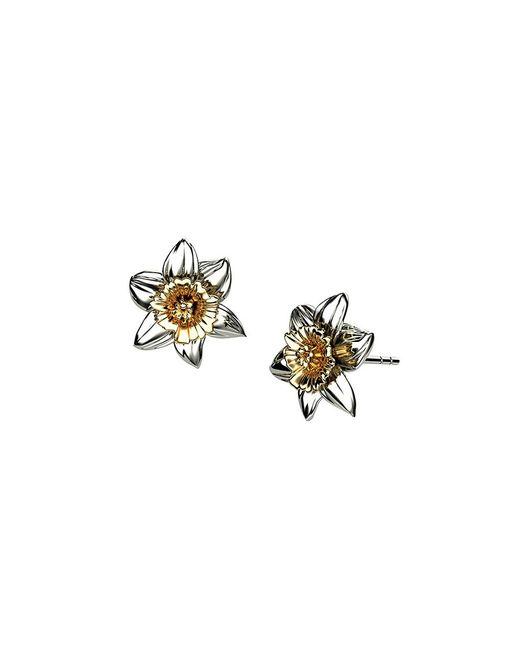 Azendi | Metallic Sterling Silver Daffodil Earrings | Lyst