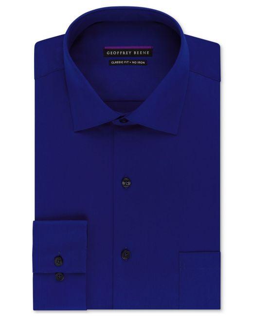 Geoffrey Beene | Blue Non-iron Sateen Solid Dress Shirt for Men | Lyst