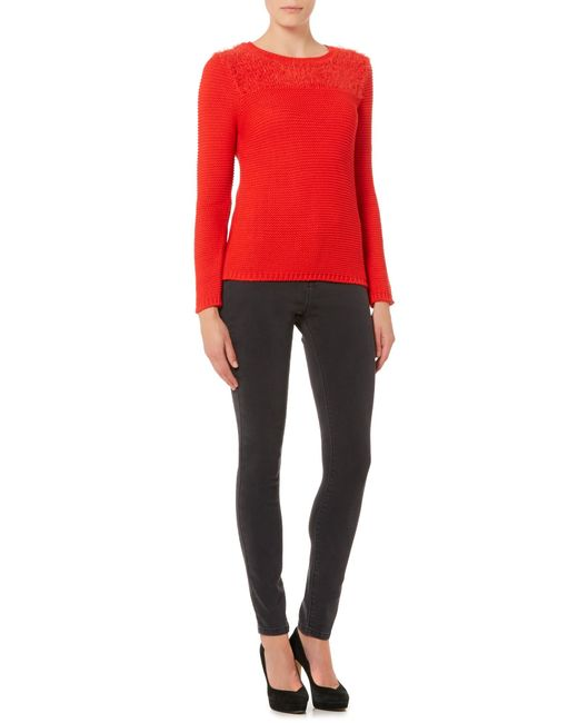 Therapy | Red Fluffy Tie Back Jumper | Lyst