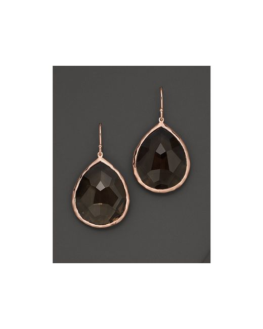 Ippolita | Black Rosé Rock Candy® Large Teardrop Earrings In Smoky Quartz | Lyst