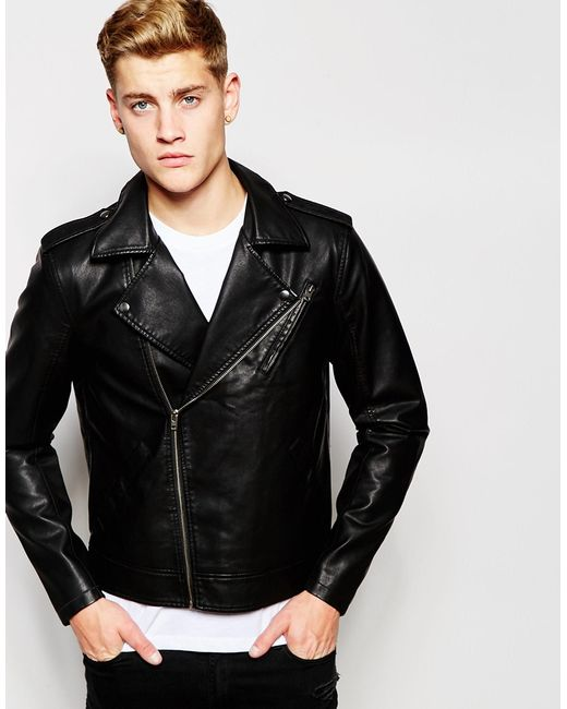 jack jones faux leather biker jacket in black for men save 50. Black Bedroom Furniture Sets. Home Design Ideas