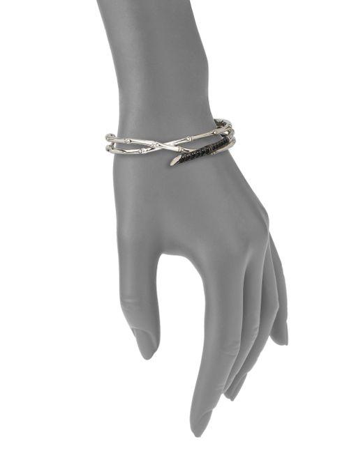 John Hardy | Metallic Bamboo Black Sapphire & Sterling Silver Multi-Row Cuff Bracelet | Lyst