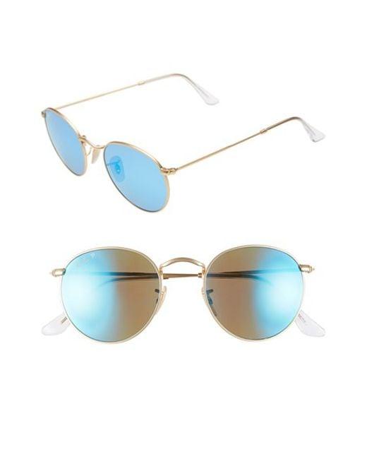 Ray-Ban | Metallic 50mm Round Polarized Sunglasses | Lyst