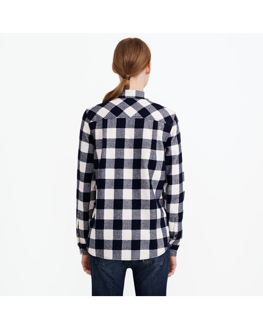 Buffalo check shirt jacket in blue navy ivory lyst for Buffalo check flannel shirt jacket